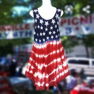 SHORELINE Red White & Blue Tye Dye Tent Dress